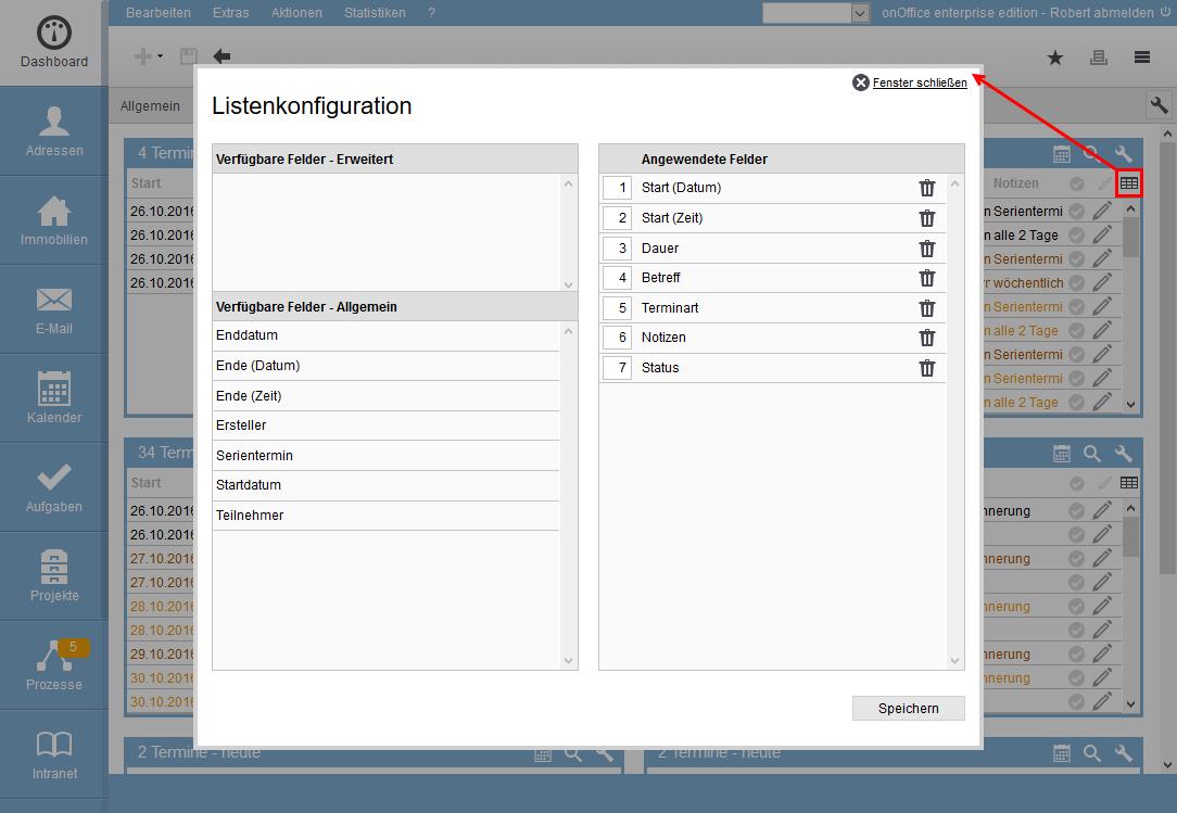 termin-widget listenkonfiguration