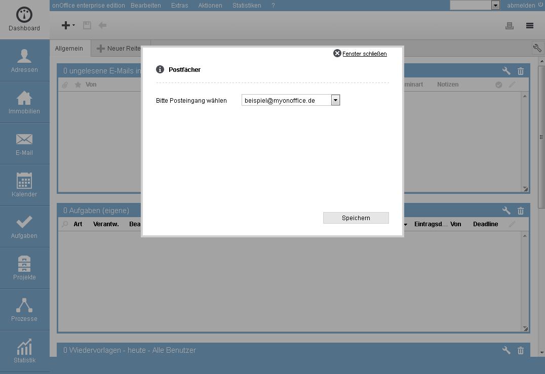 e-mail widget konfiguration