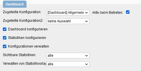 Benutzerrechte Dashboard konfigurieren