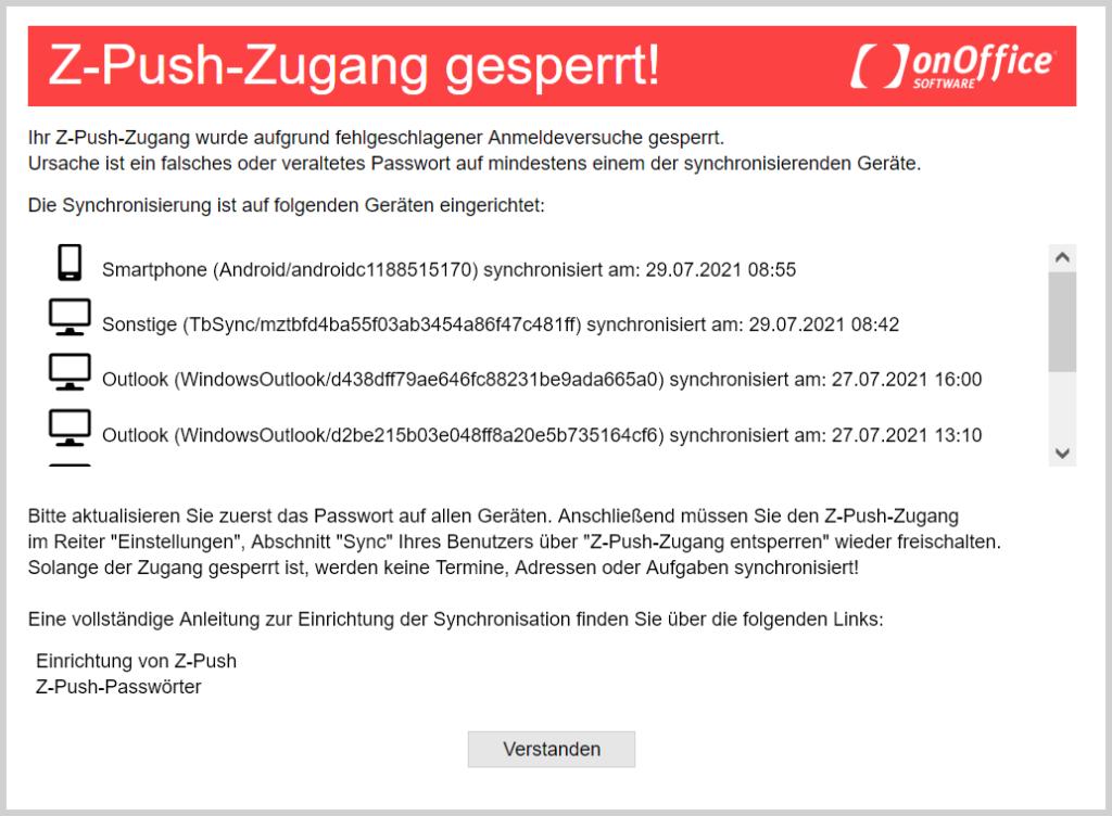 Meldung bei gesperrtem zPush-Account nach dem Login.