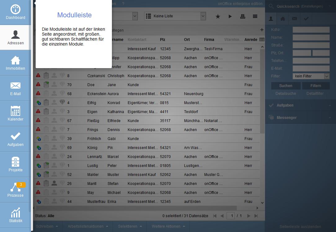 User interface Module bar
