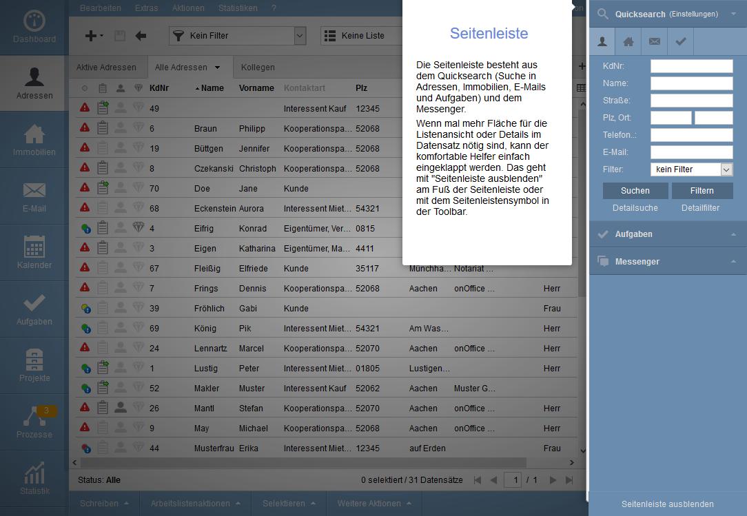 User interface Sidebar