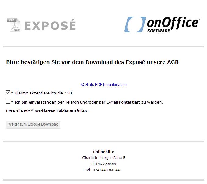Webseite mit der Abfrage der AGB