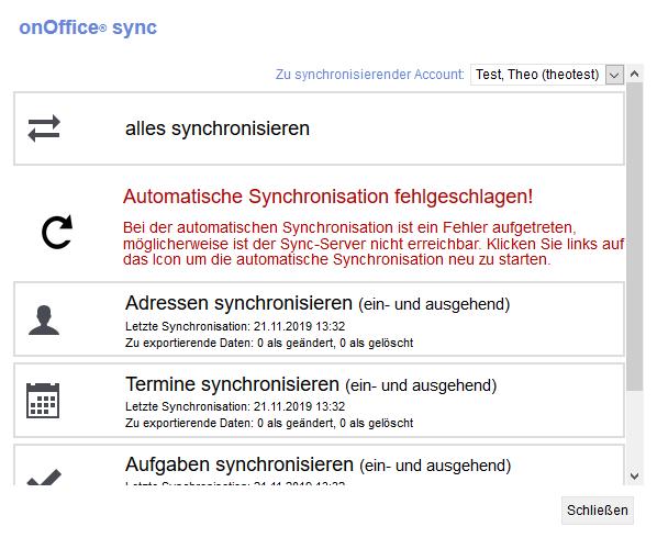 automatic sync fails