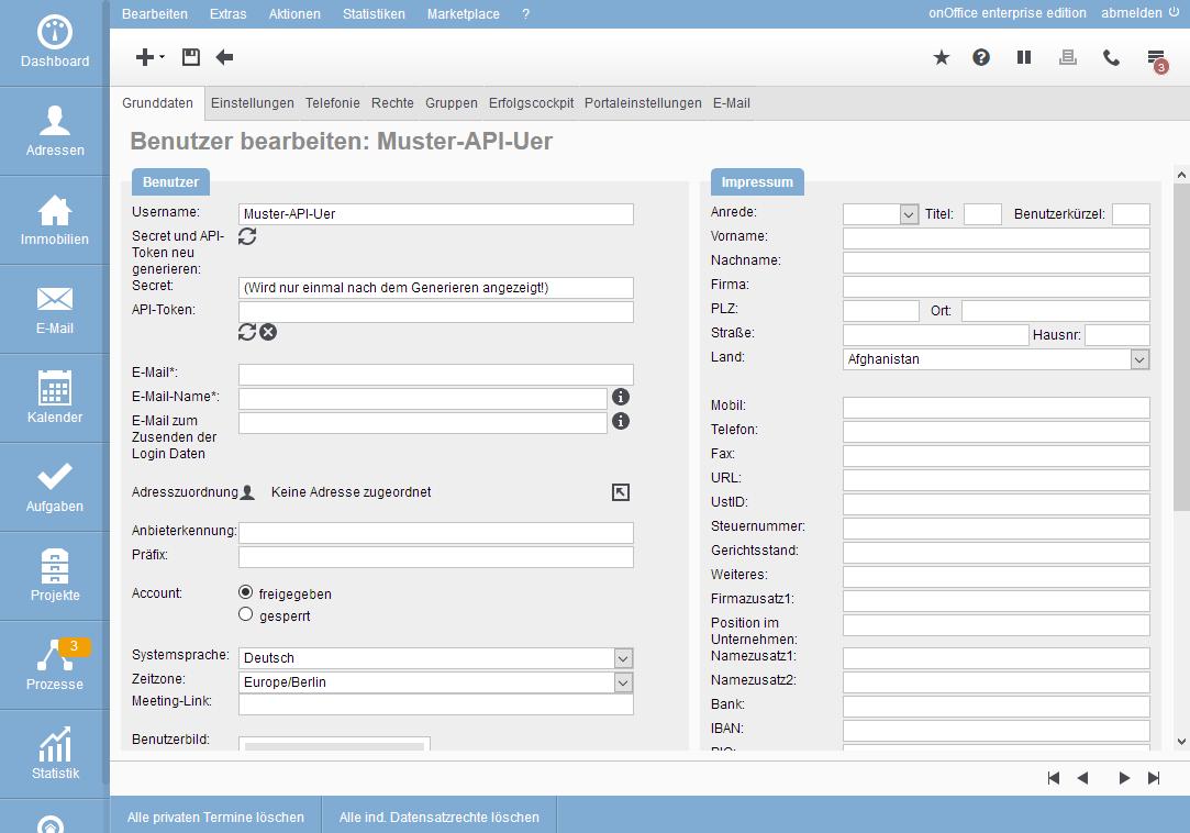 Newly created API user