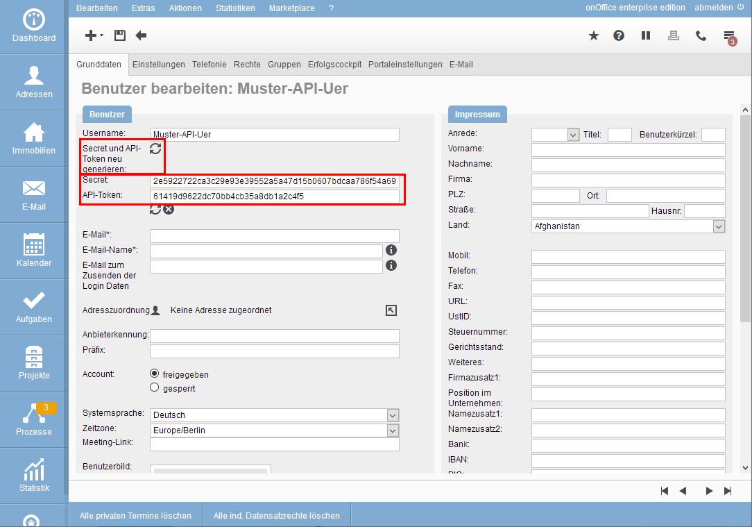 Token and Secret for the API user