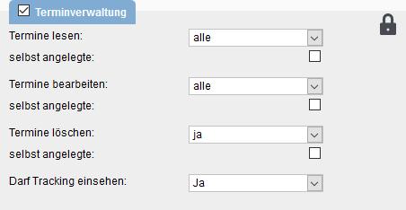 Benutzerrechte Terminverwaltung