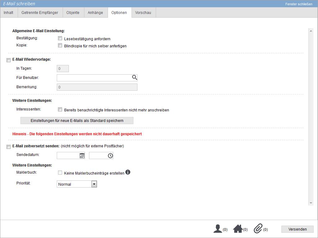 Optionen im E-Mailcomposer