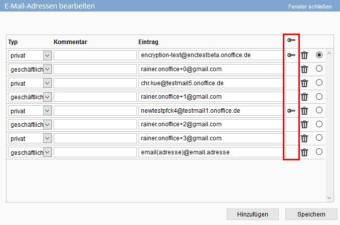 E-Mail-Verschlüsselungsicon in der Adresse