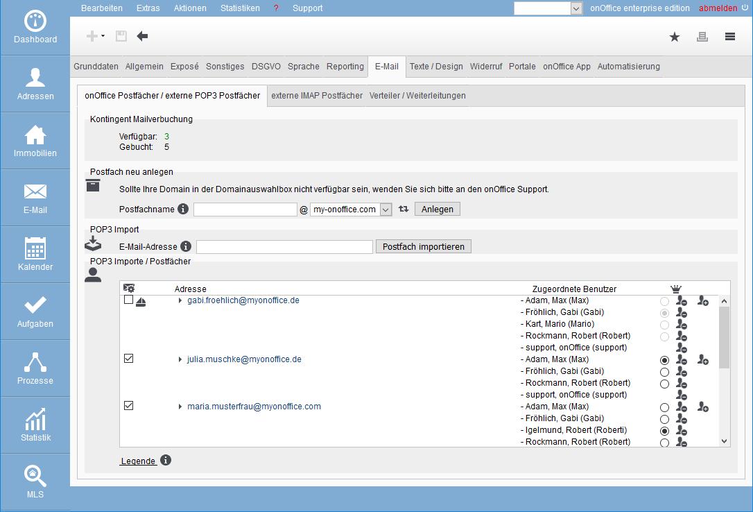 E-mail administration Basic settings