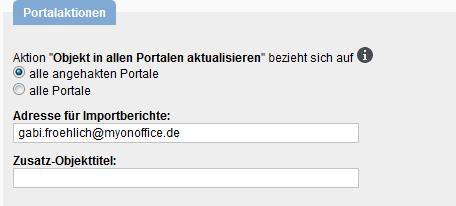 Grundeinstellungen für Portalaktionen