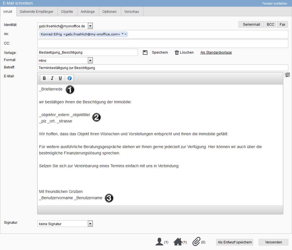 Email schreiben mit Makros