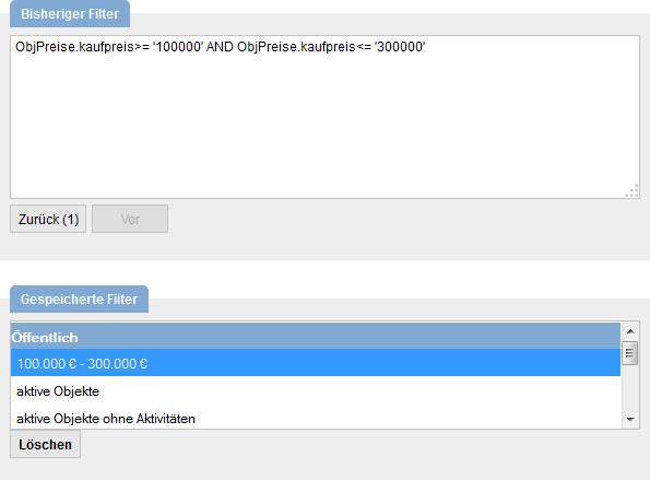 Filterkriterien eines gespeicherten Filters