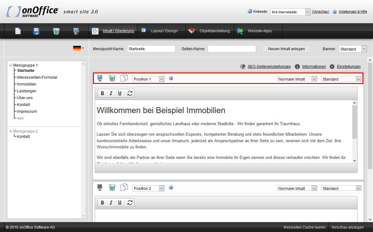 smart site Inhalt Konfigurationsbox