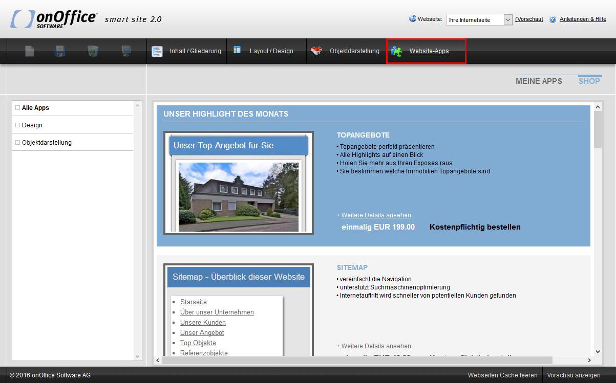 smart site Inhalt Website-Apps