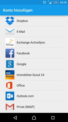 Exchange ActiveSync account type