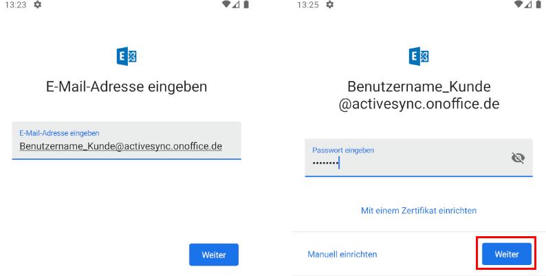 Exchange account, username and password