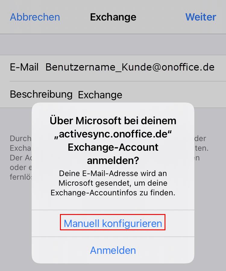 Configure account manually